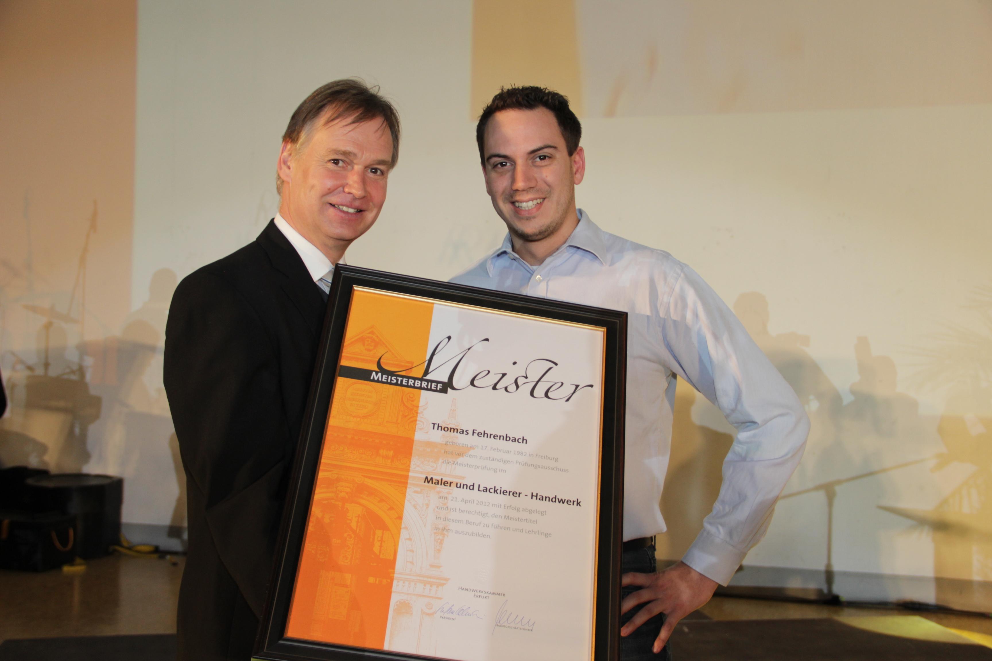 Thomas Fehrenbach mit Stefan Lobenstein, Präsident der HwK Erfurt
